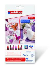 edding-4200 ass. porselein brushpen warm   6ST 1-4 mm / 4-4200-6999