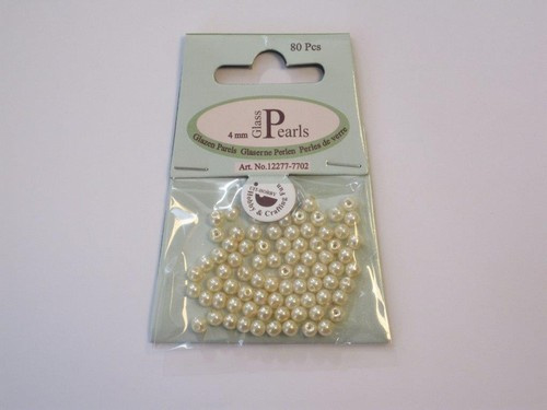 Glas parels rond 4mm beige zak 80 ST