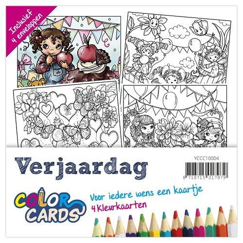 Color Cards 4 - Yvonne Creations - Verjaardag