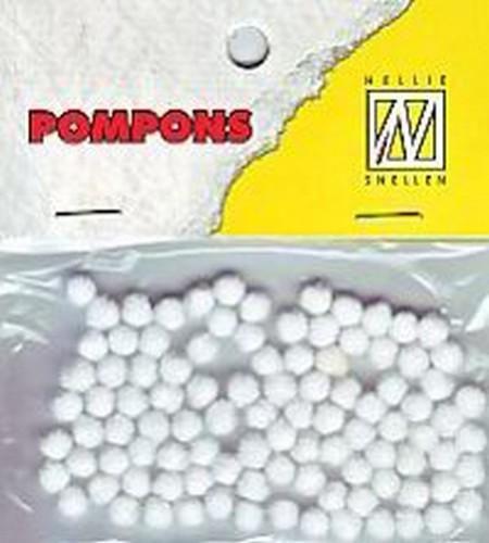 Nellie's Choice Mini pompoms Wit 100 ST 3mm POM001
