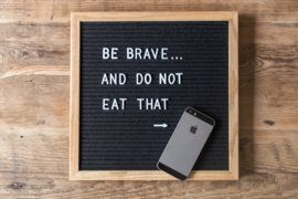 Letterbord M  hout/zwart