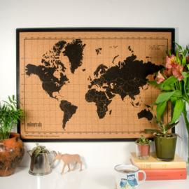 Wereldkaart prikbord kurk - zwart