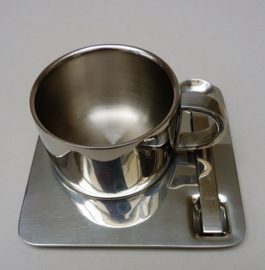 RVS dubbelwandige cappuccino kop en schotel met lepeltje