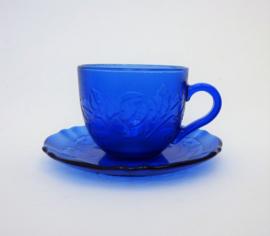 Arcoroc France Rosa Blue kop en schotel