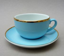 Mitterteich demitasse espresso kop en schotel baby blue met goud