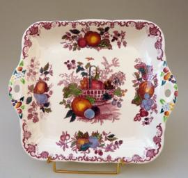 Masons Ironstone Fruit Basket Red vierkante taartschaal