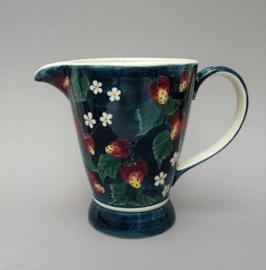 Handbeschilderde creamware kan met aardbeien decoratie
