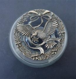Glazen potpourri doosje met vogel decoratie
