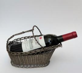 Franse verzilverde gevlochten wijnfles mand
