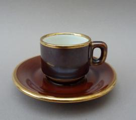 Delaunay espresso kop en schotel in bruin met goud