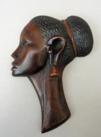 Mid Century houten wandkopje Afrikaanse vrouw
