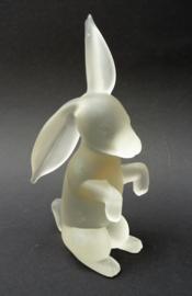 Stelvia Empoli frosted art glass sculptuurtje van een haas