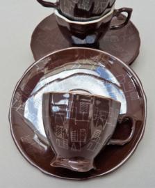 Liling China porseleinen jaren zestig espressokop en schotel