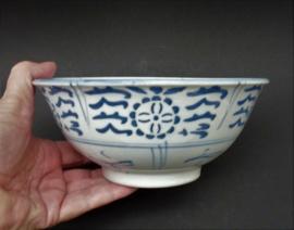 Vintage Chinese blauw wit porseleinen Min Yao kom