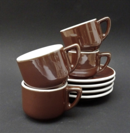 SPM Walkure espressokop en schotel bruin lusterglazuur - set van vier