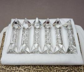 Vintage geslepen kristallen messenlegger - set van zes