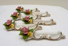 Martha Budich Dresden porseleinen messenleggers met roosjes