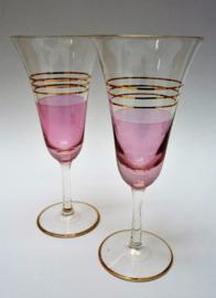 Mid Century roze champagne glazen met gouden bies en rand