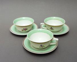 Poreylor Amandinoise mint groene demitasse kop en schotel - set van drie