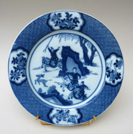 Petrus Regout chinoiserie bord Joosje te Paard Hertenjacht