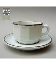 Apilco bistroware cappuccino kop en schotel wit met zilver