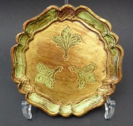 Venetiaanse houten flesonderzetter in groen met goud