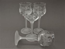 Mikasa kristallen wijnglas op gematteerde voet - set van vier