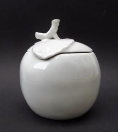 Apilco France whiteware porseleinen jampot Appel