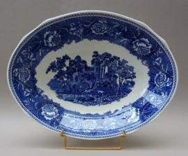Arabia Landscape Blue diepe ovale serveerschaal 30 cm