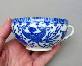 Noritake Nippon Tokusai blauw wit porseleinen Phoenix losse theekop