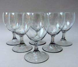 Grijs Mid Century kristallen wijnglas - set van zes