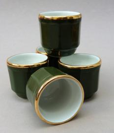 Apilco bistroware porseleinen eierdop groen Vert Empire met goud