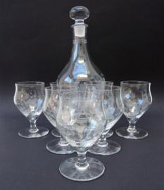Mid Century Modern wijn karaf met 7 glazen