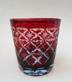 Boheems robijnrood geslepen kristallen old fashioned whisky tumbler glas