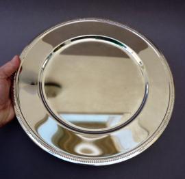 Verzilverd onderbord met parelrand - set van vier
