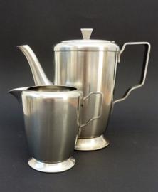 Gero Zilmeta RVS koffiepot met melkkan