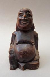 Vintage handgestoken houten smiling Buddha