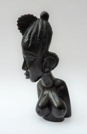 Handgesneden ebbenhouten buste Afrikaanse vrouw