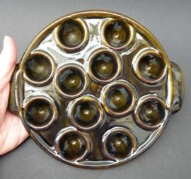Franse faience escargots ovenschaal 12 gaats