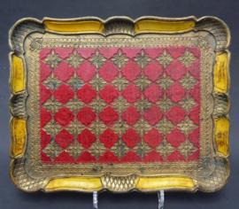 Venetiaans dienblad geel met rood en goud