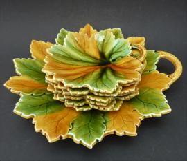 Sarreguemines barbotine bladvorm dessertborden set