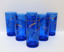 Mid Century kobaltblauw longdrinkglas met gouden bloemprint - set van zes