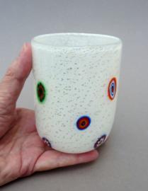 Murano Millefiori Venetiaans Goti waterglas wit met zilver