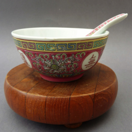 Chinese roze porseleinen Mun Shou Longevity rijstkom met lepel
