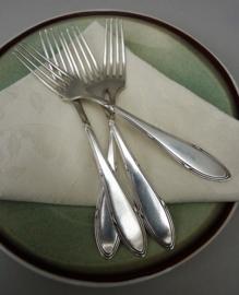 Wellner Alpacca Kruisband antieke dessertvork - set van vier