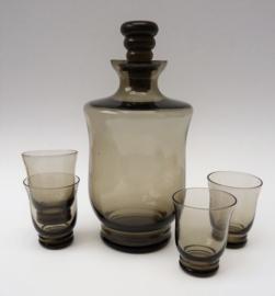 Leerdam Art Deco likeurset van rookglas