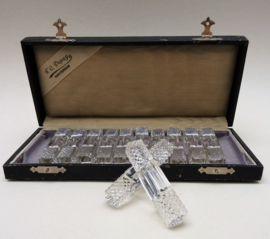 Antieke kristallen messenlegger set in etui FC Dupuy
