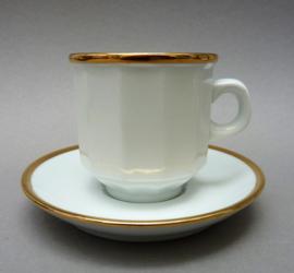 SPM Walkure bistroware hoge koffiekop en schotel in wit met goud