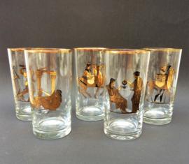Longdrinkglas met mythologisch decor - set van vijf