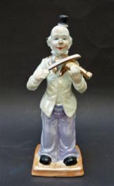 Japans Art Deco lustreware porseleinen beeld clown met viool